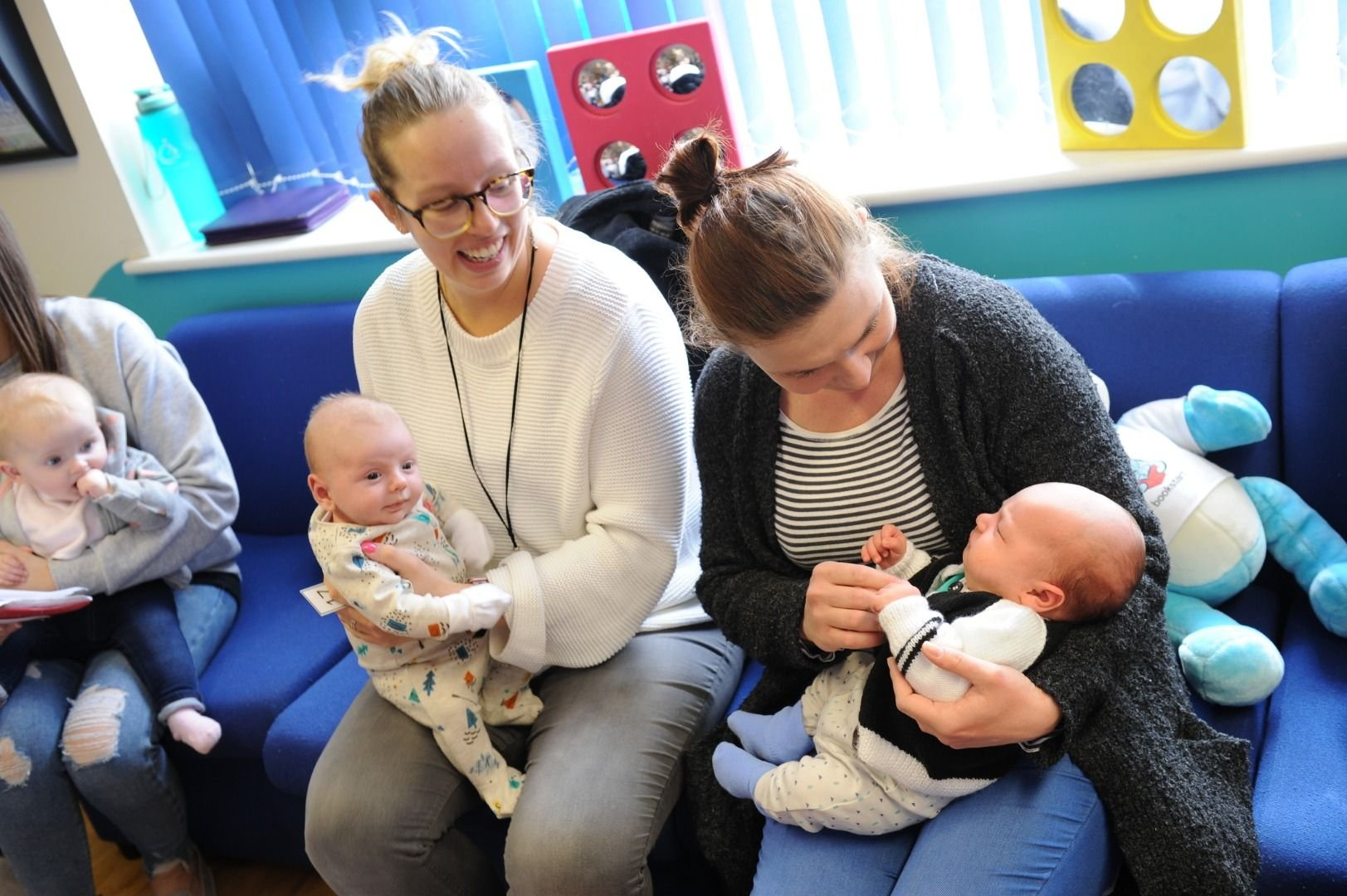 Mothers with their babies at a child health drop-in